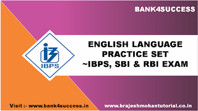 Free Full Length English Sectional Test for SBI PO Exam 2019 Set - 3