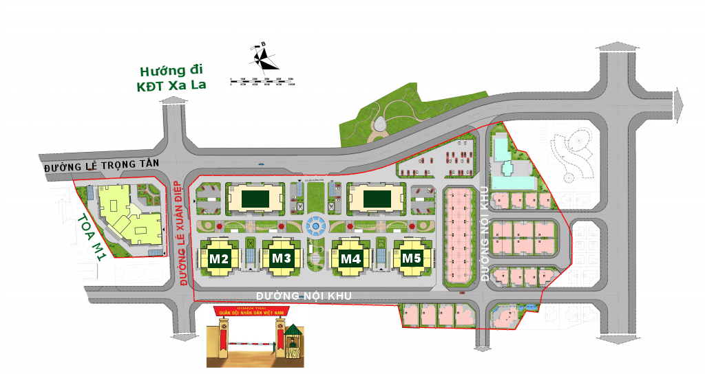 Vị trí các tòa dự án Mipec Kiến Hưng Hà Đông