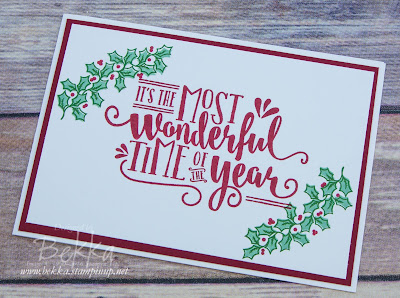 Make In A Moment - Holly Berry Wonderful Time Christmas Card.  Learn to make cards like this here