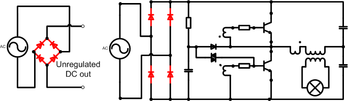 self starting Half Bridge oscillator highlighting bridge rectifier components