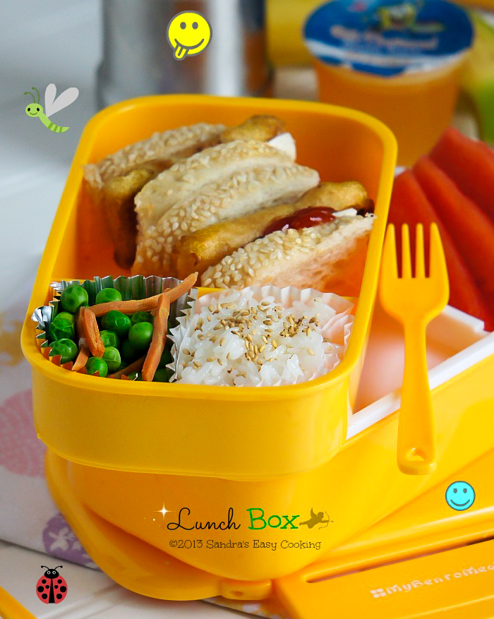 Homemade Lunch Box: Battered baked Fish Sandwich with peas and rice