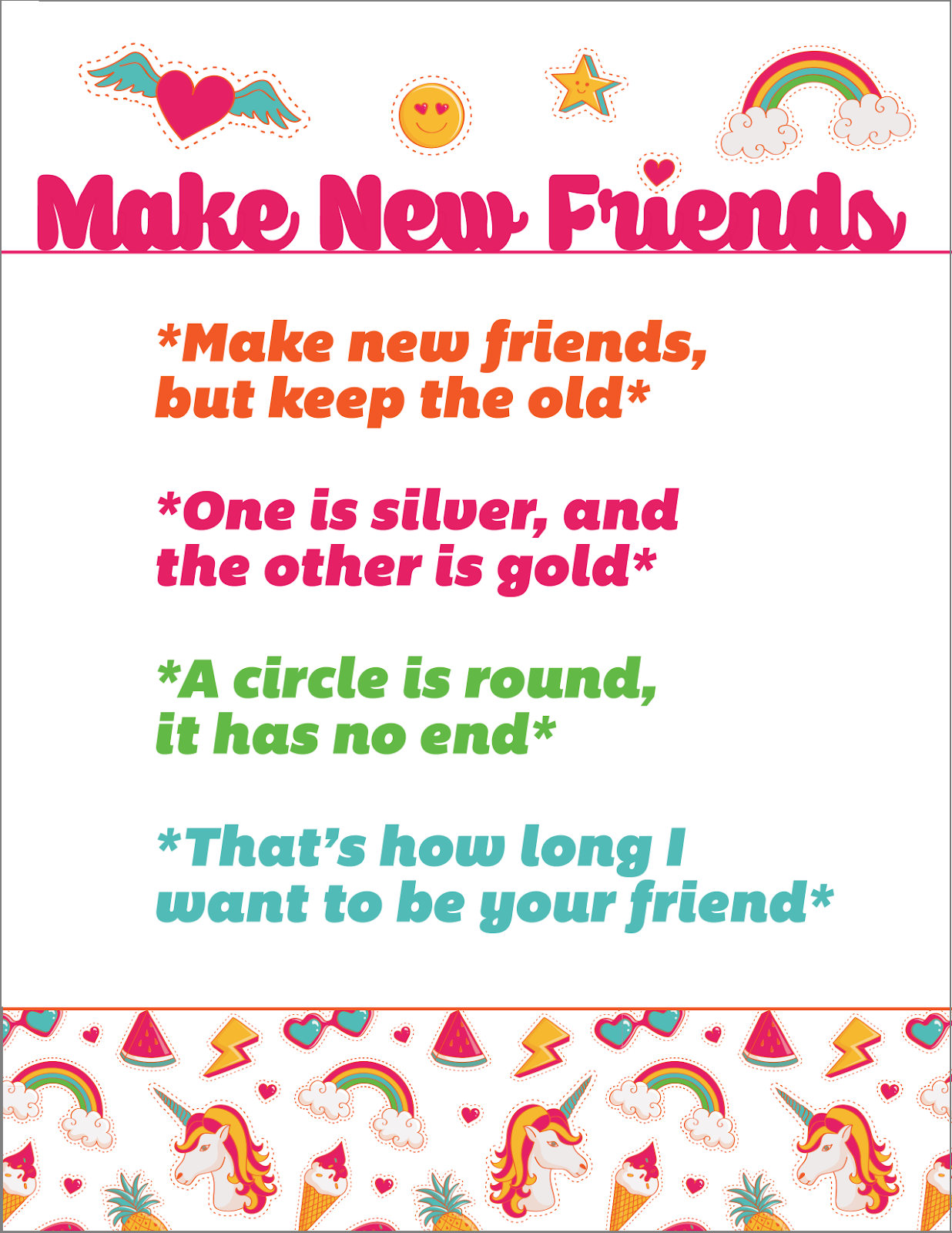 Universal image in make new friends song printable