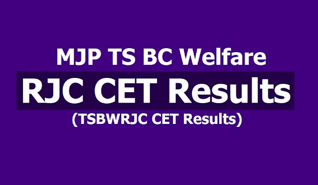 MJP TS BC Welfare RJC CET 2019 Results, TS BC Welfare TSRJC CET Results 2019