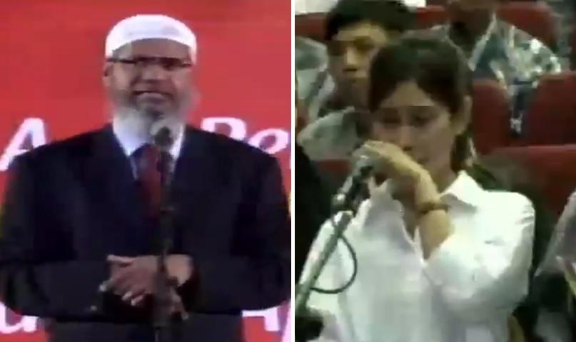Indah tampak menyeka air mata mendengar jawaban Dr Zakir Naik