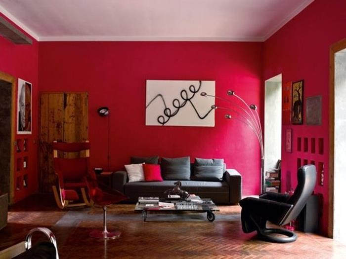 kiraz rengi kırmızı oturma odası dekorasyonu