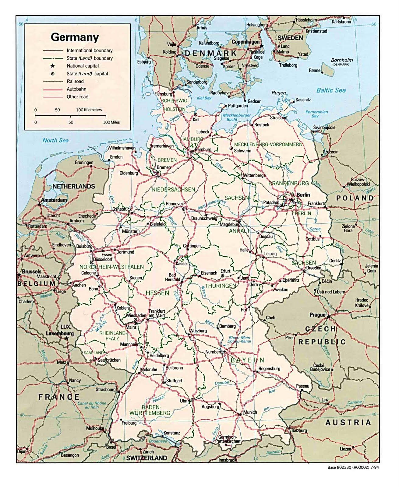 Kaart Duitsland En Bondslanden Kaart Topografie Duitsland En Berlijn