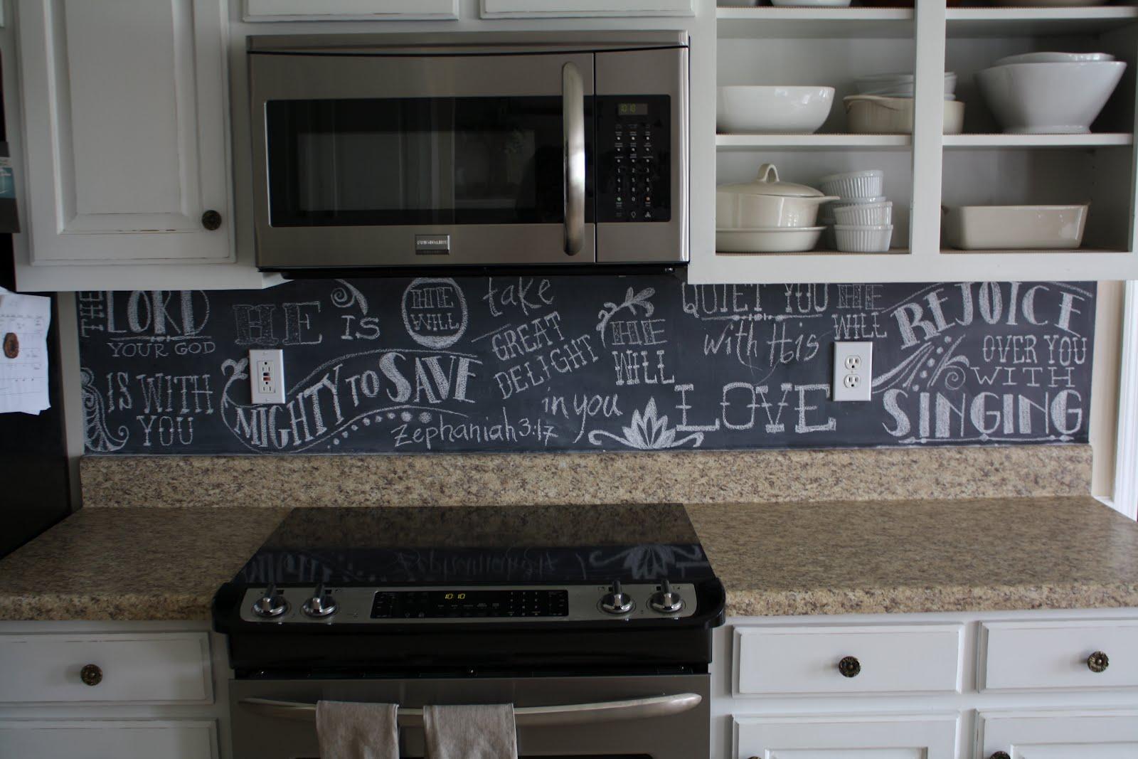 Chalkboard In Kitchen Silverware John And Melanie Backsplash