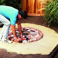 Place The Center Paver On The Sand Base. Working From The Center Outward,  Set Down The Bricks (follow The Pattern), Tapping Them Into Place With The  Mallet ...