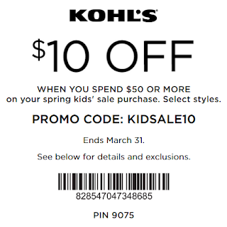 Kohls coupon $10 OFF $50 Kids' clothing and footwear