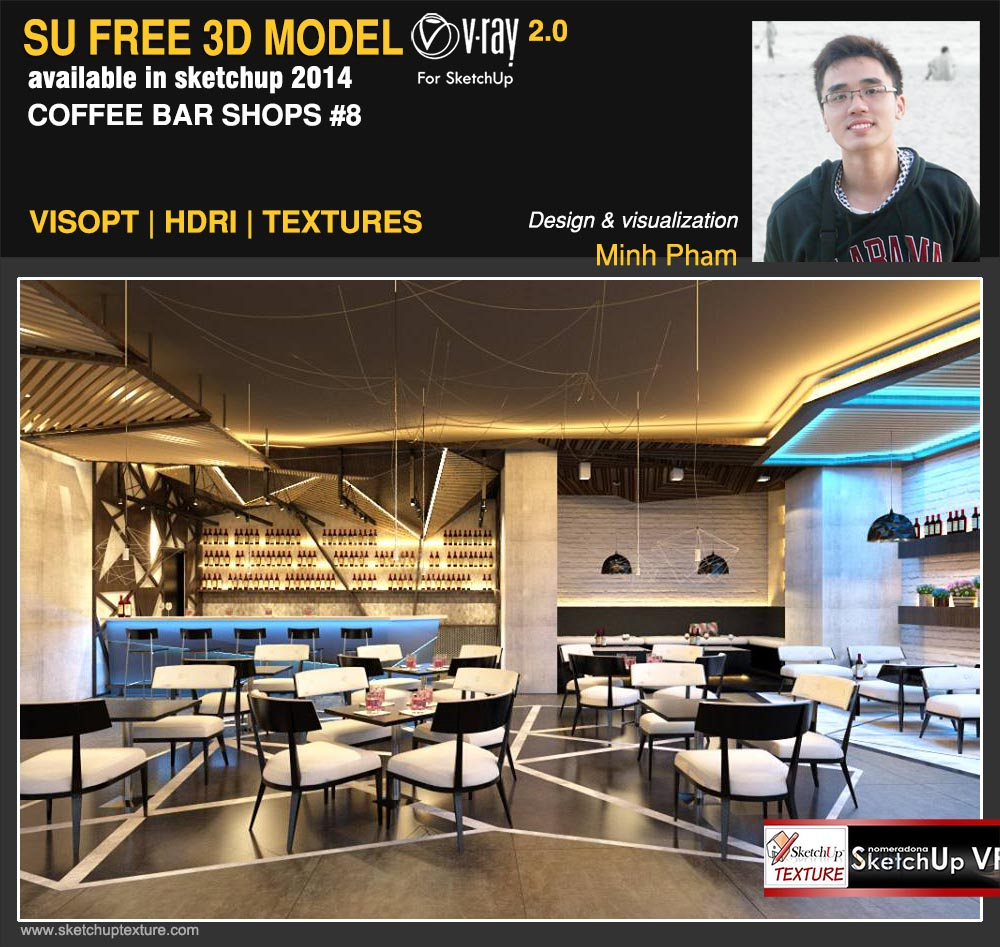 3d sketchup model coffee bar #8 vray render by Minh Phạm scene 1