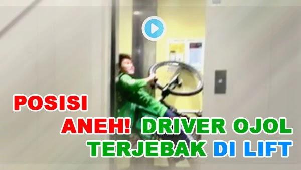 Posisi Aneh Driver Ojol Yang Terjebak di Lift