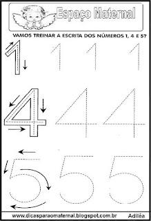 Atividades com numerais pontilhados