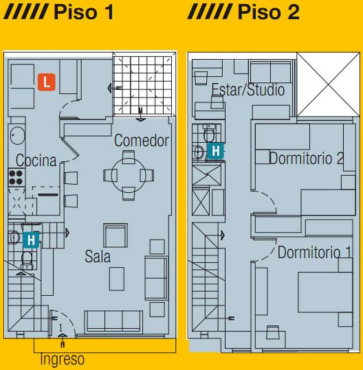 Planos de casa en 60m2 dos pisos mas azotea planos de for Casa minimalista 120m2
