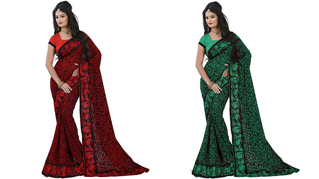 M.S.Retail Self Design Bollywood Georgette, Net Saree  (Red, Black)