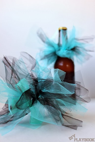 Take your bachelorette party to a new level - wrap your beer in tulle and ribbon for a dressy beer bottle!