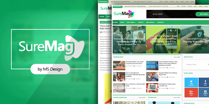 Sure Mag is or too then other Magazine blogger template past times MS Design Free Download Sure Mag