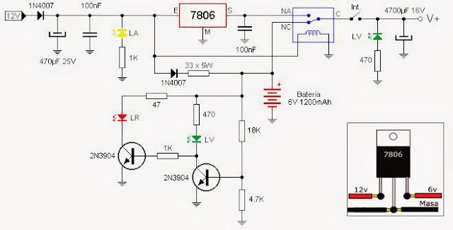 Fuente de 6v con batería, cargador e indicador de carga