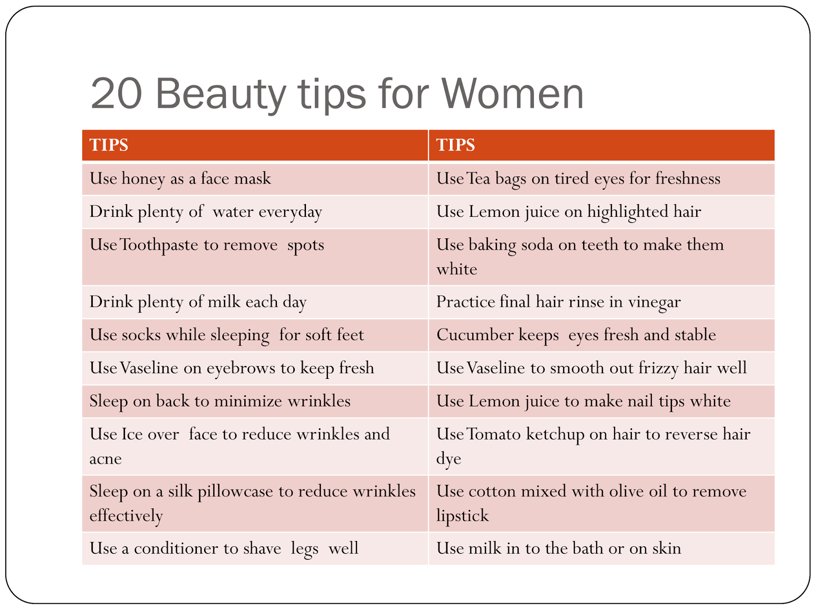 20 BEAUTY TIPS FOR WOMEN - ♥♥ MAMA MASZULL