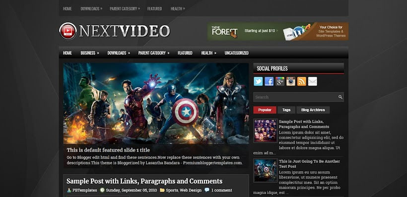 NextVideo Free Blogger Template