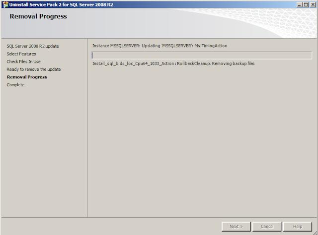 Un-Installing Service Pack for SQL Server | SansSQL