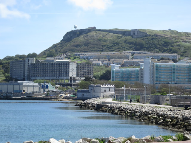 View of Portland in Dorset: Castle, Verne Prison, Osprey Quay.