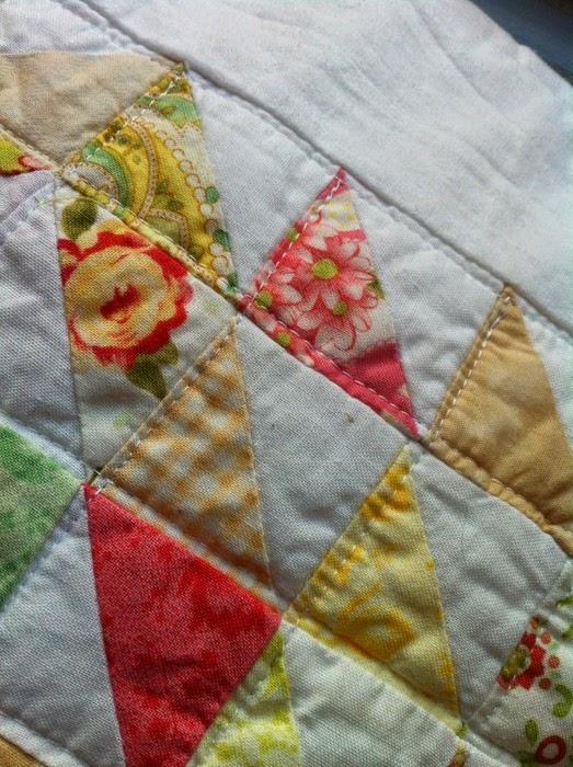 Detail kussensloop patchwork