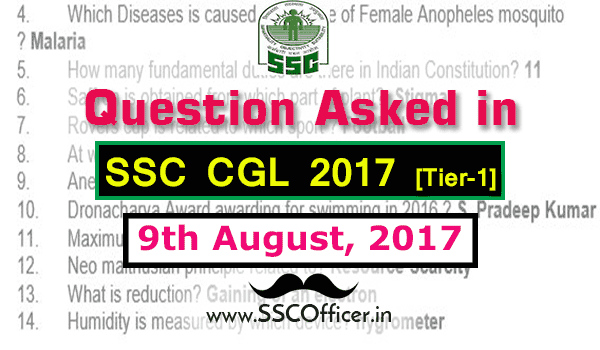 Question Asked in SSC CGL 2017 Tier-1 on 8th August- [PDF]-SSC Officer