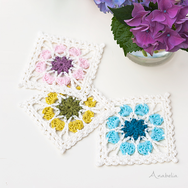 2 Crochet Flower Squares plus Flowers Tablecloth pattern, Anabelia Craft Design