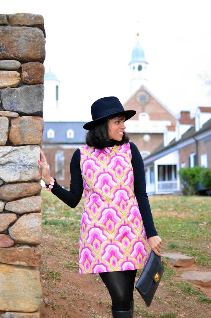 Patterned 60's Style Dress Look