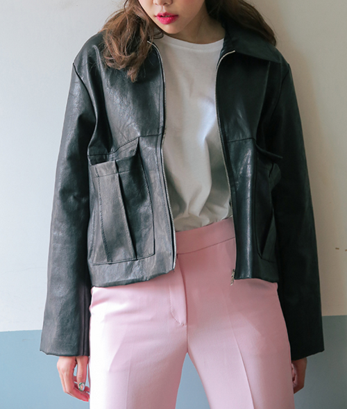 Two Flap Pocket Faux Leather Jacket
