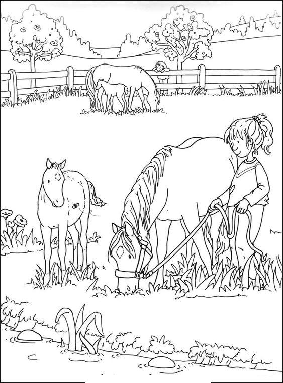Tranh tô màu bé chăm ngựa