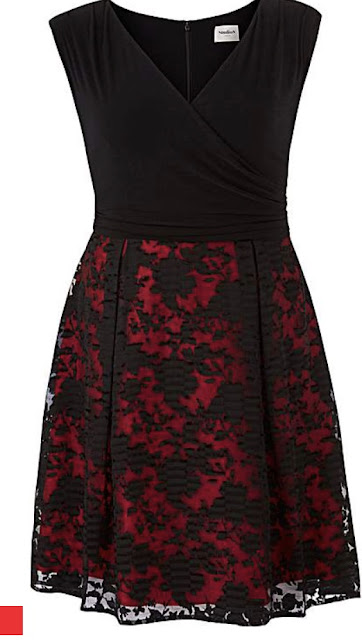 black and red womans dress