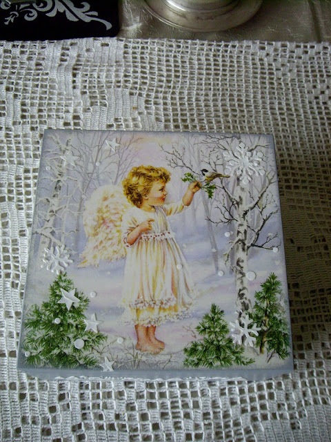 Inspiracje ze świata sztuki – zimowa szkatułka z aniołem :)
