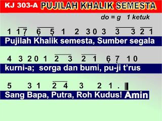 Lirik dan Not Kidung Jemaat 303a Pujilah Khalik Semesta