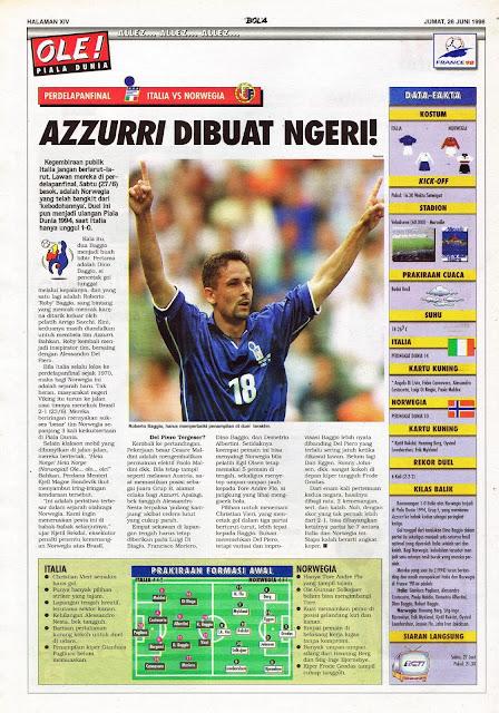 ROBERTO BAGGIO ITALY VS NORWAY WORLD CUP 1998
