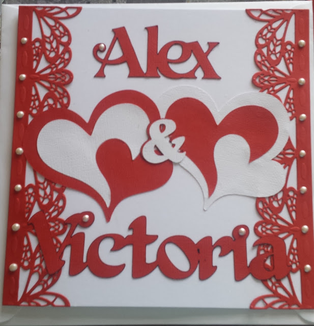 "Entwined hearts in red and white - Personalised 8"" wedding card"
