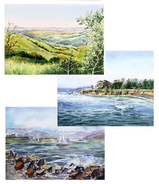 watercolour ocean landscapes