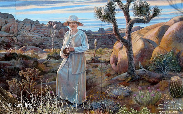 A mural honoring Minerva Hamilton Hoyt, who was largely responsible for making Joshua Tree a national monument.