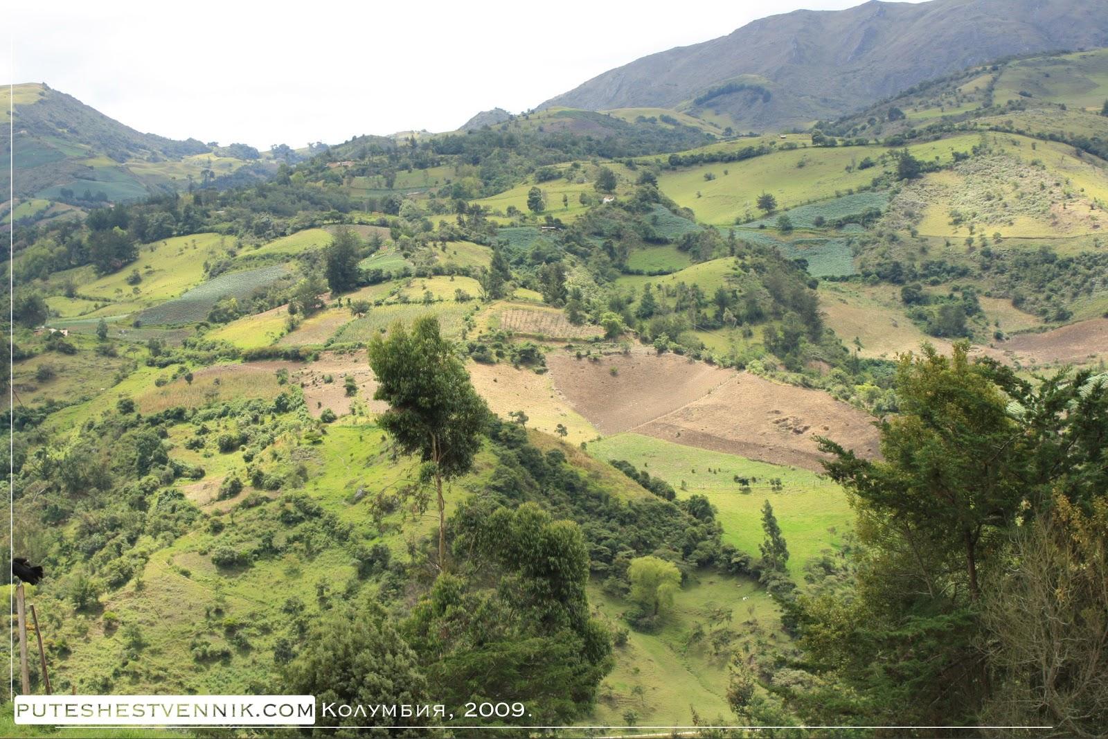 Зеленые лоскуты возделанных земель в горах