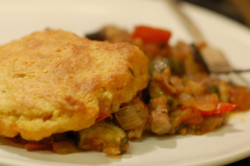 Ratatouille & sausage potpie with cornmeal biscuit topping by Eve Fox, The Garden of Eating, copyright 2009