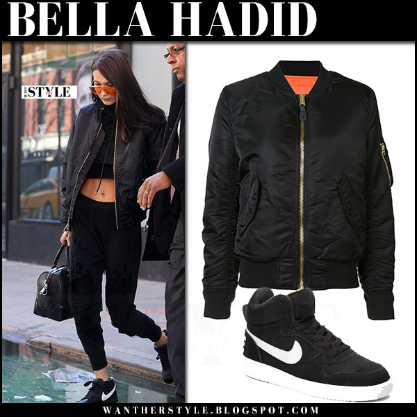 bella hadid bomber jacket alpha industries nike court borough sneakers what she wore