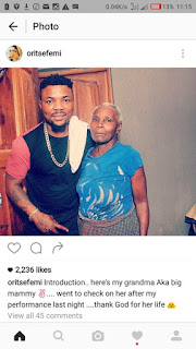 Oritsefemi Shows Off His Grandmother