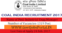 Coal India Limited Recruitment 2017 – 1319 Management Trainees  & Manager Officer