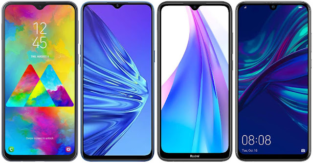 Samsung Galaxy M20 vs Realme 5 128 GB vs Xiaomi Redmi Note 8T 64 GB vs Huawei P Smart+ 2019