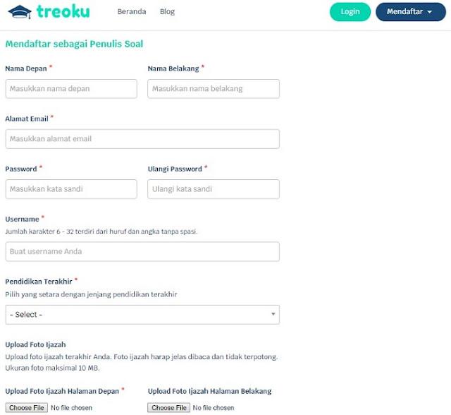 Tampilan Pendaftaran di Web Treoku