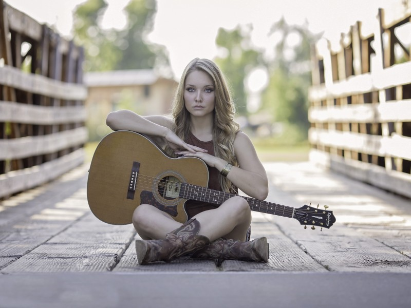 Download Country Girl with Acoustic Guitar on Bridge HD wallpaper. Click Visit page Button for More Images.