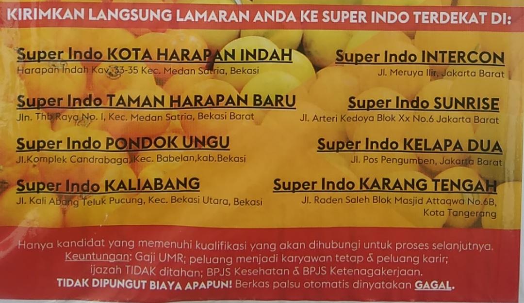 Lowongan Kerja Di Super Indo Bekasi Jakarta Tangerang Dibacaonline