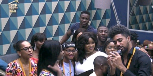 Omotola Jalade visits Big Brother Naija house