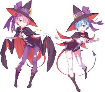 Ram y Rem vestidas de Halloween para la ocasión.