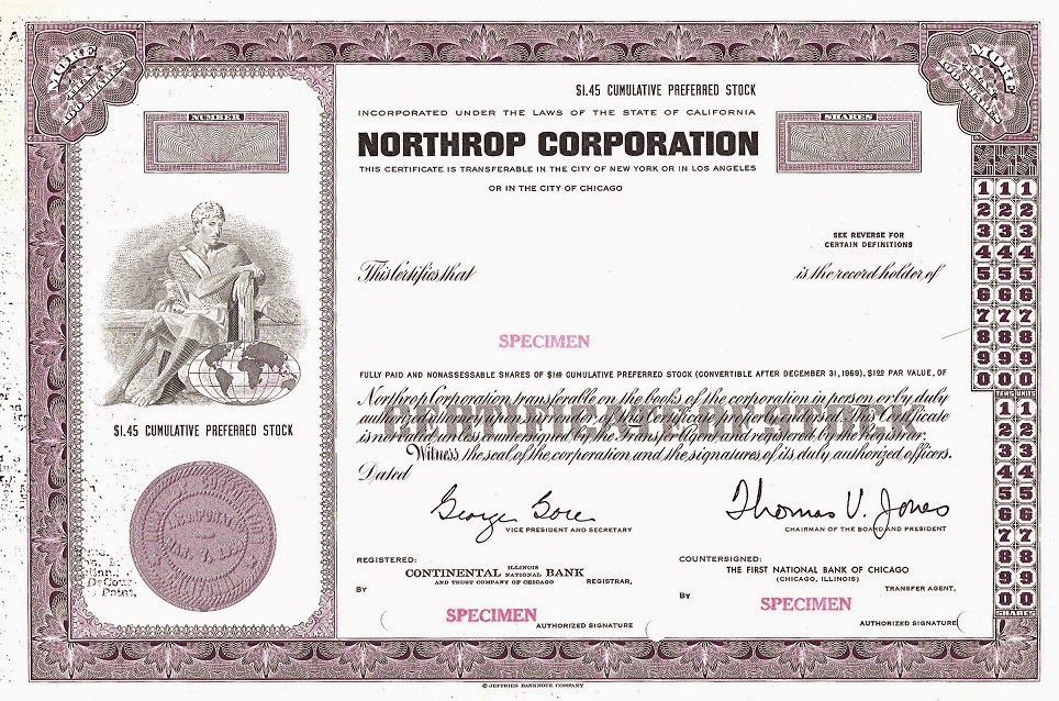 stock certificate specimen printed by Jeffries Banknote Company